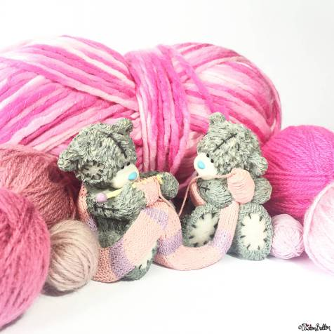Day 07 - Cute - Me to You Tatty Teddy Knitting Ornament with Pink Yarn - Photo-a-Day – June 2016 at www.elistonbutton.com - Eliston Button - That Crafty Kid – Art, Design, Craft & Adventure.