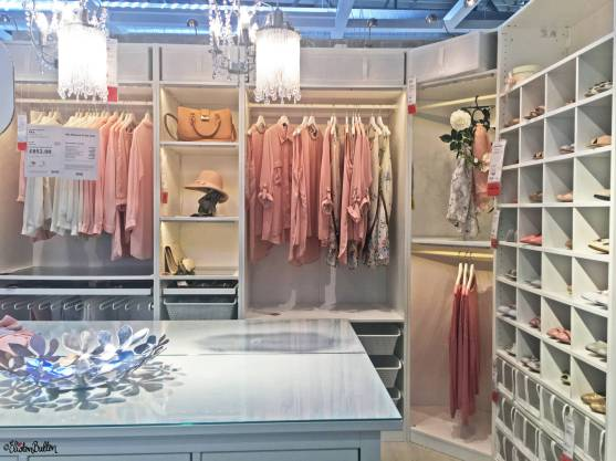 Beautiful Pastel Pink, Grey and White Walk in Wardrode Display at IKEA, Birmingham - The Patterns and Colours of IKEA at www.elistonbutton.com - Eliston Button - That Crafty Kid – Art, Design, Craft & Adventure.