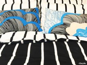 Monochrome Bed Linen Pattern with a Pop of Blue in IKEA, Birmingham - The Patterns and Colours of IKEA at www.elistonbutton.com - Eliston Button - That Crafty Kid – Art, Design, Craft & Adventure.