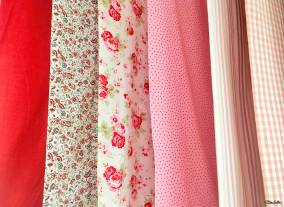 Pink and Red Floral Print and Polka Dot Fabric Swatches at IKEA, Birmingham - The Patterns and Colours of IKEA at www.elistonbutton.com - Eliston Button - That Crafty Kid – Art, Design, Craft & Adventure.