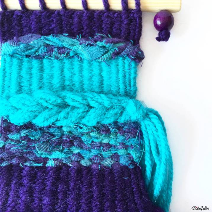 Deep Purple and Vibrant Turquoise Woven Wall Hanging by Eliston Button - Around Here…August 2016 at www.elistonbutton.com - Eliston Button - That Crafty Kid – Art, Design, Craft & Adventure.