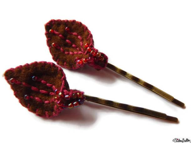 Chocolate and Raspberry Embroidered and Beaded Felt Petal Hair Grips by Eliston Button on Etsy - For the Love of…Autumn at www.elistonbutton.com - Eliston Button - That Crafty Kid – Art, Design, Craft & Adventure.