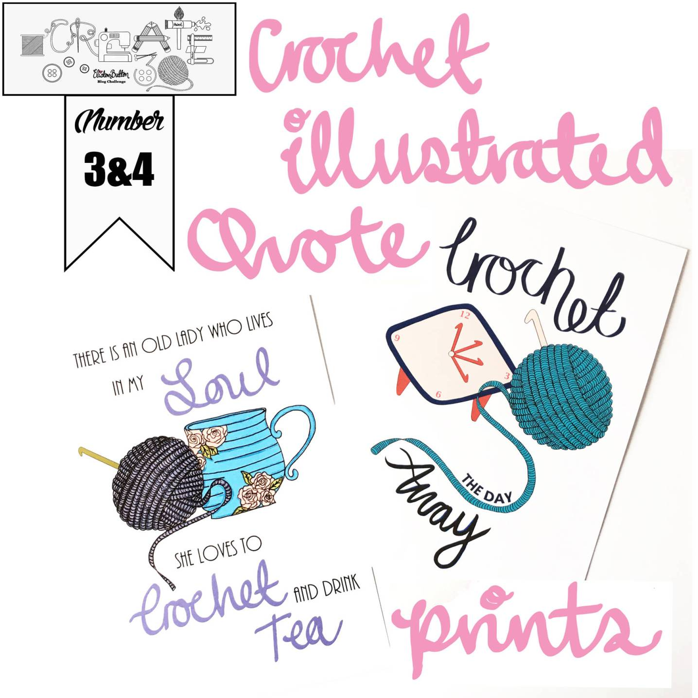 Crochet Illustrated Quote Prints by Eliston Button on Etsy - Around Here…September 2016 at www.elistonbutton.com - Eliston Button - That Crafty Kid – Art, Design, Craft & Adventure.