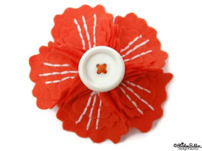 Tangerine Embroidered Felt Flower Brooch by Eliston Button on Etsy - For the Love of…Autumn at www.elistonbutton.com - Eliston Button - That Crafty Kid – Art, Design, Craft & Adventure.
