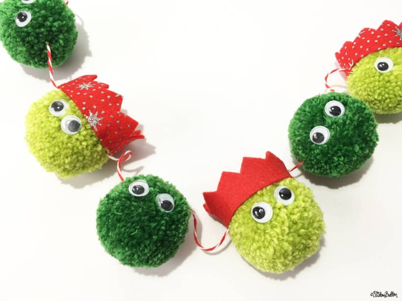 Christmas Sprout Pom Pom Garland in Party Hats by Eliston Button - For the Love of…Winter at www.elistonbutton.com - Eliston Button - That Crafty Kid – Art, Design, Craft & Adventure.
