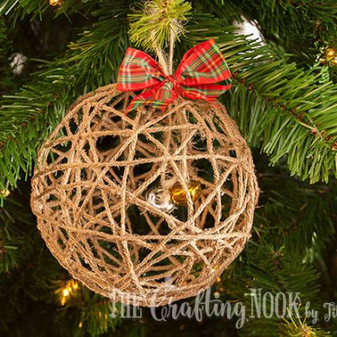 Twine Ball Christmas Ball Ornament Tutorial by Cami of The Crafting Nook Blog - For the Love of…Winter at www.elistonbutton.com - Eliston Button - That Crafty Kid – Art, Design, Craft & Adventure.