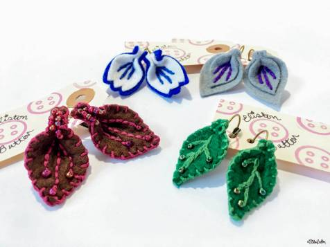 Embroidered Felt and Beaded Handmade Earrings by Eliston Button - For the Love of...Spring at www.elistonbutton.com - Eliston Button - That Crafty Kid – Art, Design, Craft & Adventure.
