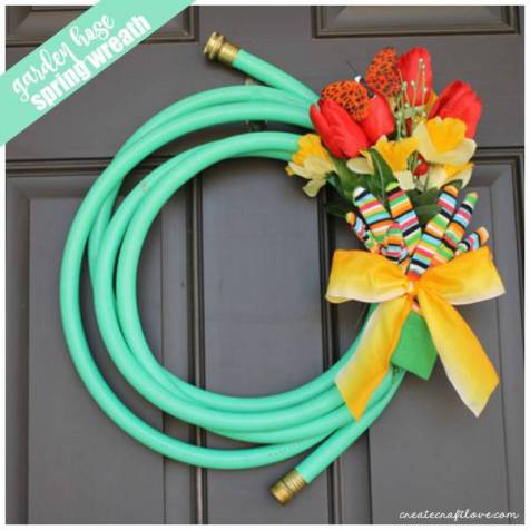 Garden Hose Spring Wreath by Create Craft Love - For the Love of...Spring at www.elistonbutton.com - Eliston Button - That Crafty Kid – Art, Design, Craft & Adventure.
