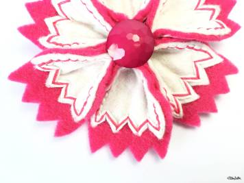 Hot Pink and White Girl Power Embroidered Felt Flower Brooch by Eliston Button - For the Love of…Summer at www.elistonbutton.com - Eliston Button - That Crafty Kid – Art, Design, Craft & Adventure.