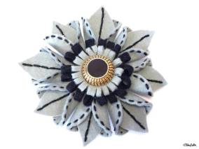 Create 30 - No. 27 - Slate Grey and Black Embroidered Felt Flower Brooch by Eliston Button on Etsy - Create 30 – I Did It! (And Future Plans) at www.elistonbutton.com - Eliston Button - That Crafty Kid – Art, Design, Craft & Adventure.
