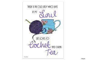 Create 30 - No. 3 - Crochet and Drink Tea - Illustrated Quote Print by Eliston Button - Create 30 – I Did It! (And Future Plans) at www.elistonbutton.com - Eliston Button - That Crafty Kid – Art, Design, Craft & Adventure.