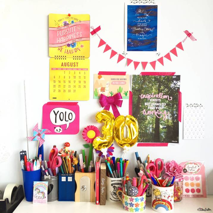 Eliston Button Headquarters Mood Wall - August 2017 with Creative Pen Pots - Around Here...I'm Back! at www.elistonbutton.com - Eliston Button - That Crafty Kid – Art, Design, Craft & Adventure.