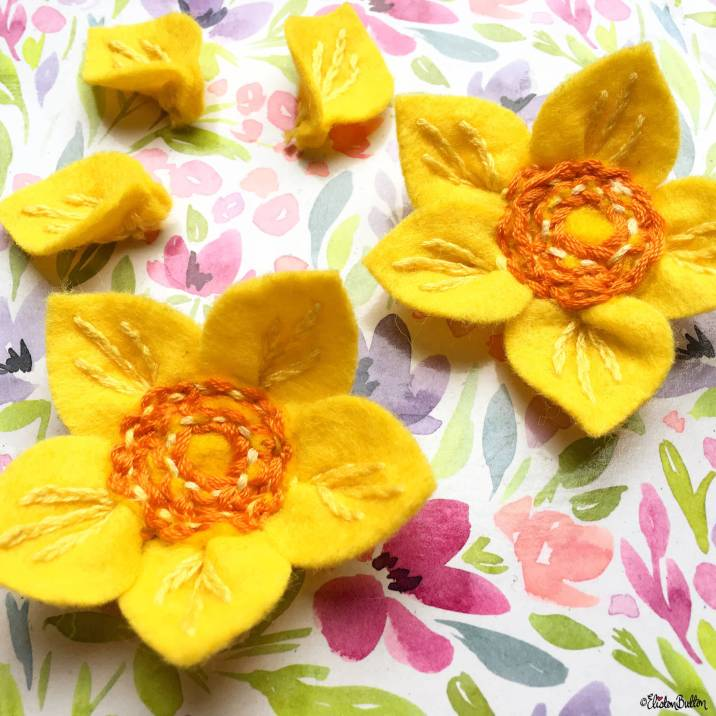 Embroidered Felt Daffodil Flowers by Eliston Button - Around Here...I'm Back! at www.elistonbutton.com - Eliston Button - That Crafty Kid – Art, Design, Craft & Adventure.