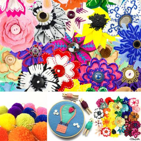 Colourful Embroidered Felt Flower Brooches, Rainbow Pom Poms and Embroidery Hoop Art by Eliston Button - Meet the Maker Week 2017 at www.elistonbutton.com - Eliston Button - That Crafty Kid – Art, Design, Craft & Adventure.