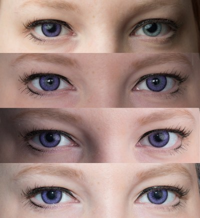 Purple contacts light eyes