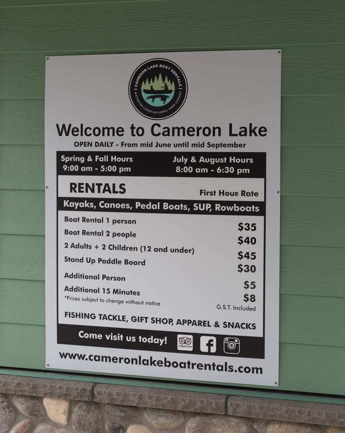 Cameron Lake Canoe