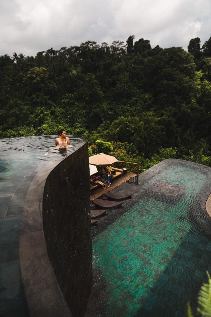The swimming pool at the Hanging Gardens of Bali Hotel