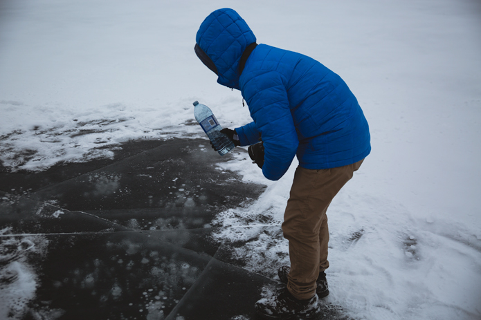 frozen methane bubbles spray lakes