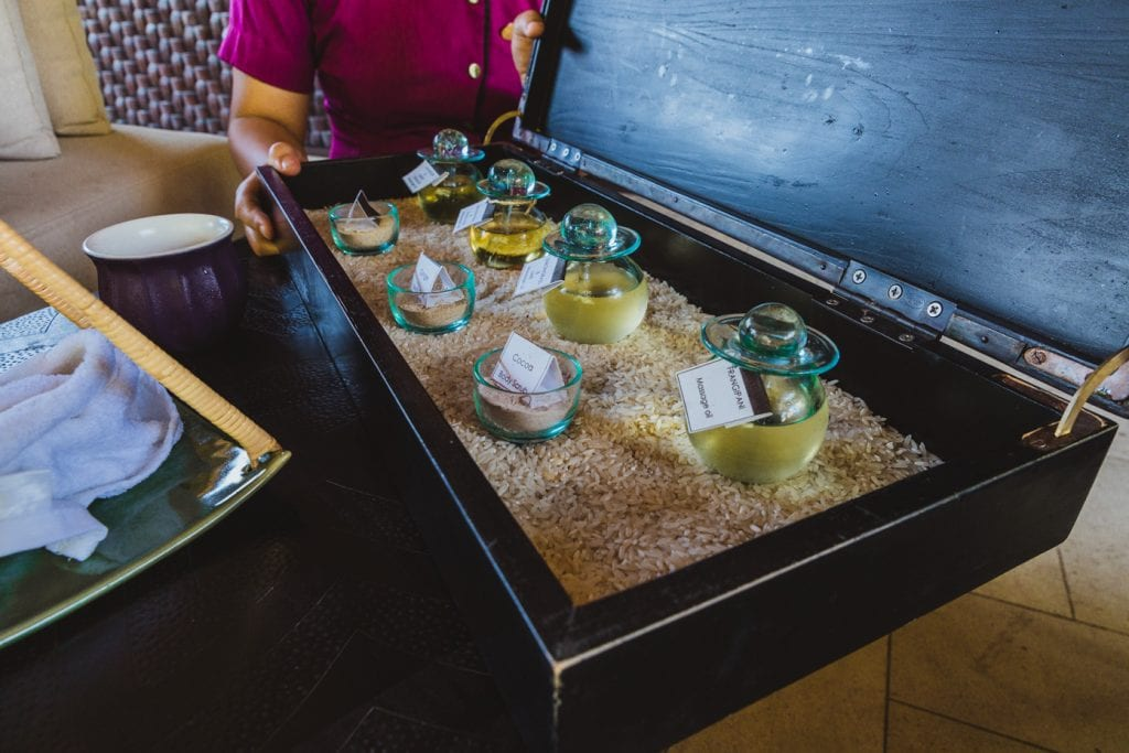 oils at the Hanging gardens of Bali spa