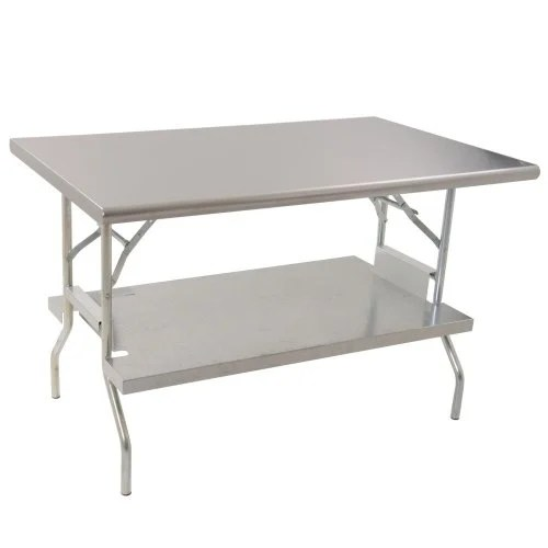 folding stainless steel work table with under shelf 24 x 60