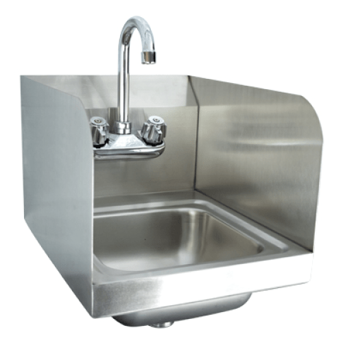 universal hs 12ss 12 x 16 wall mount hand sink with faucet and side splash
