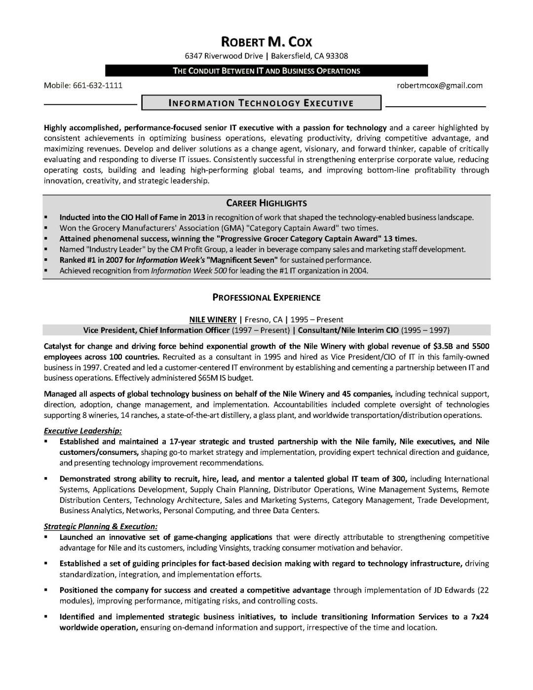 IT resume sample 3, provided by Elite Resume Writing Services