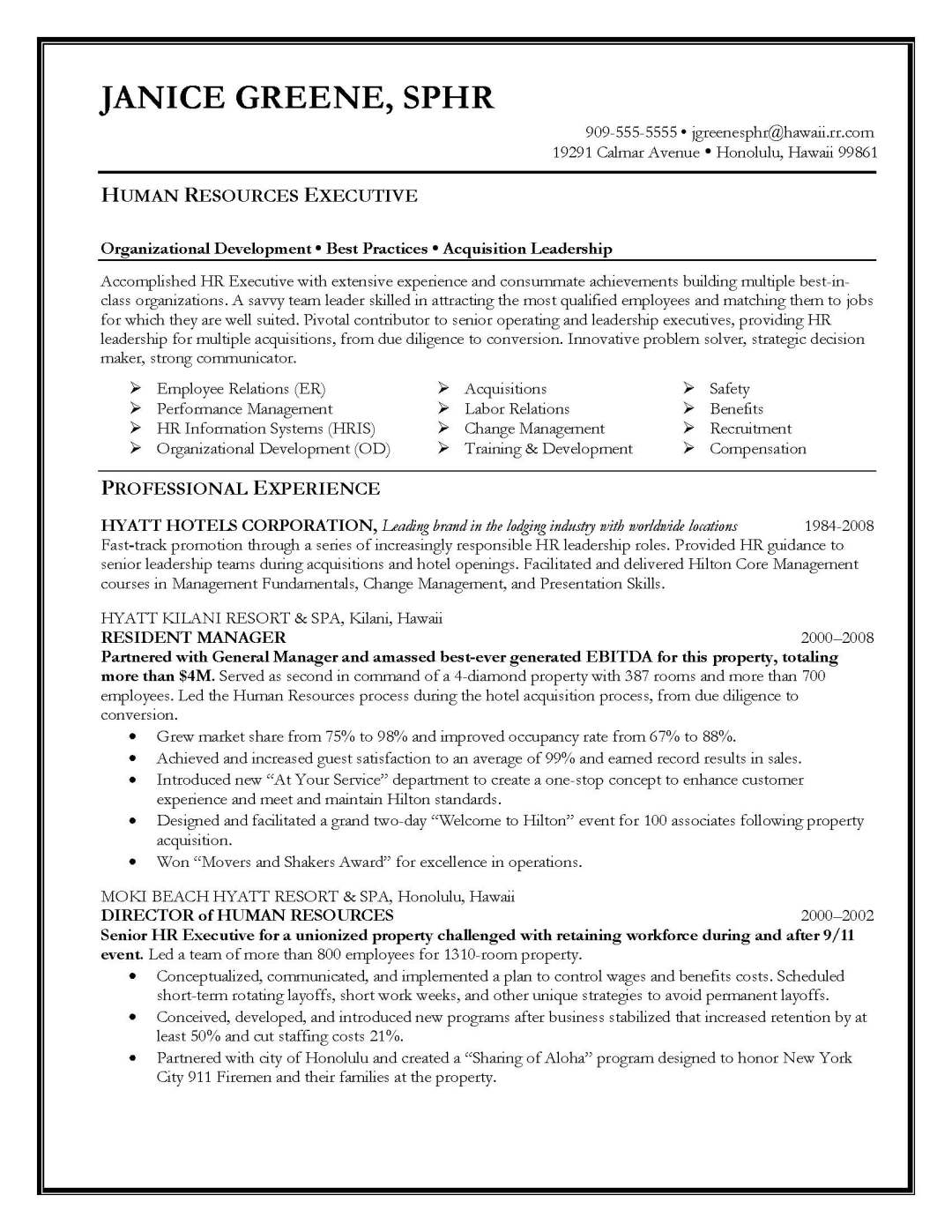 human resources executive resume sample, provided by Elite Resume Writing Services
