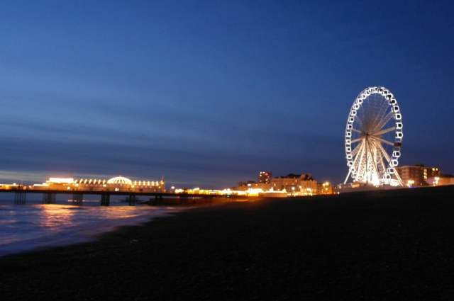 Brighton Pier and Ferris Wheel at Night