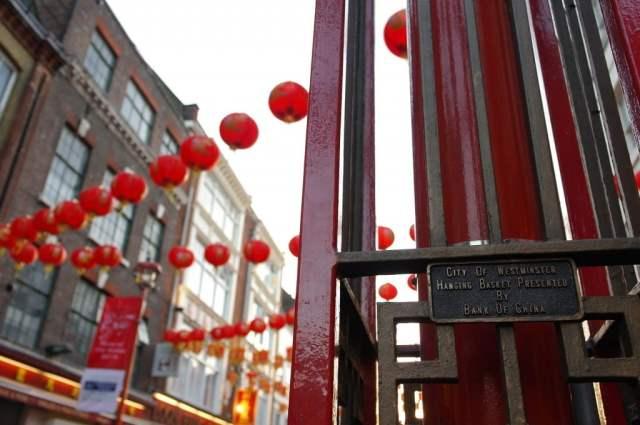 Hanging basket gate and lanterns, Chinese New Year, Chinatown, London