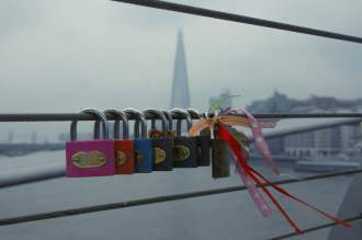 Love locks on Millennium Bridge, London