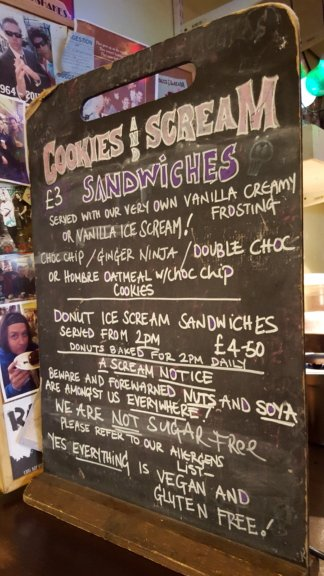 Cookies and Scream Camden menu