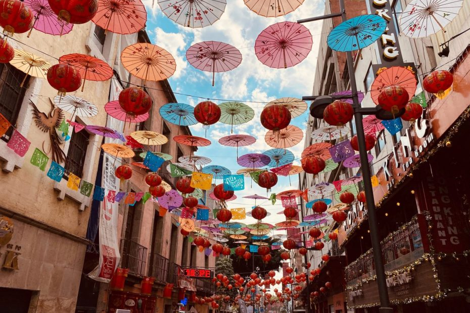 white and red paper lanterns