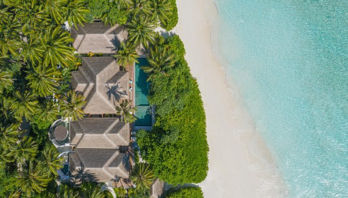 aerial view of anantara kihavah maldives pool residence