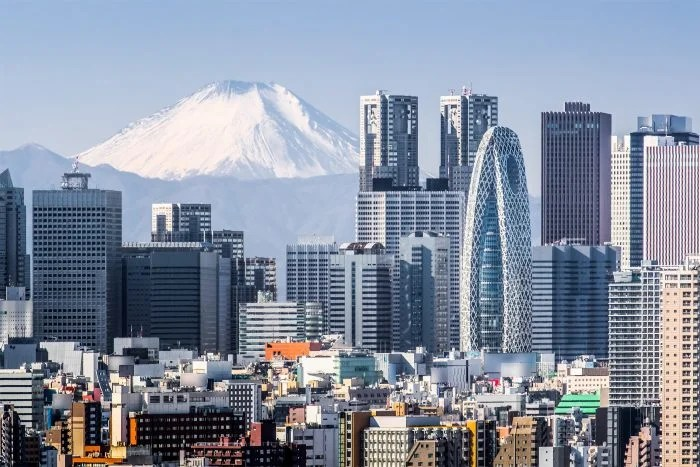 view of tokyo with mt fuji in background