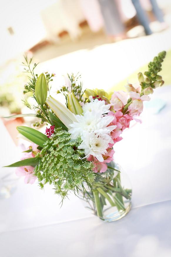 Pinkgreenpurplecenterpiece See The Full Feature Here Real Weddings