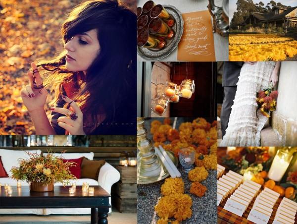 Fall Wedding Inspiration Beige: Yellow Brown And Orange Fall Wedding Inspiration Board
