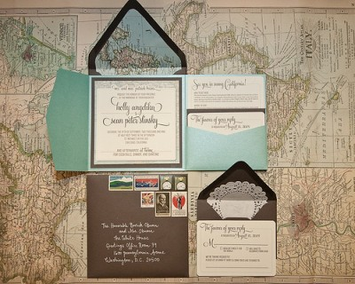 Vintage Travel Inspired Wedding Invitations
