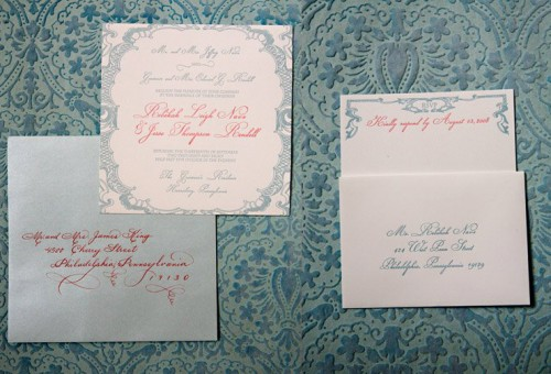 Blue And Red Letterpress Wedding Invitations
