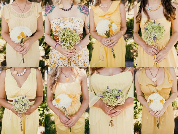 mismatched-yellow-bridesmaids-dresses