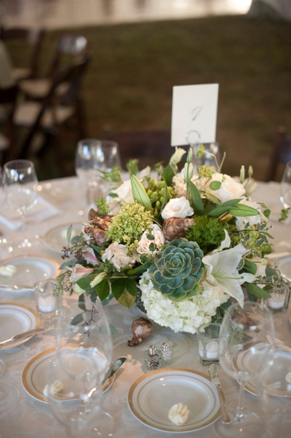Green And White Succulent Wedding Centerpiece Elizabeth