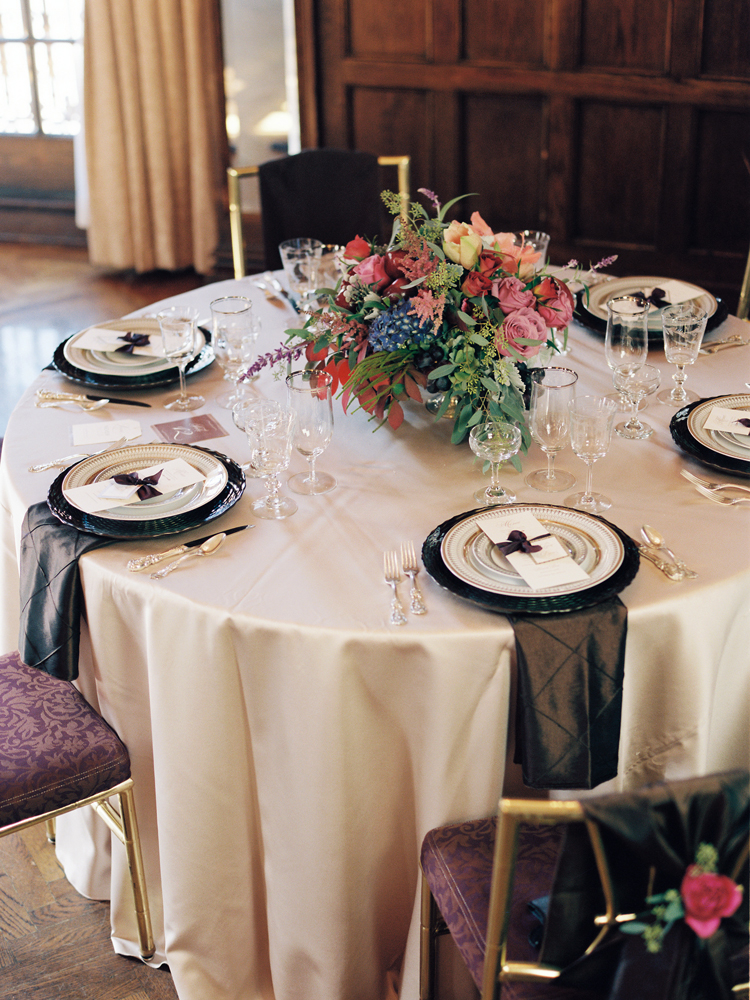 Jewel Toned And Gold Reception Table Inspiration