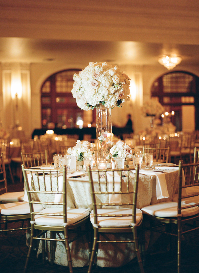 Tall Hydrangea And Rose Reception Table Centerpiece Elizabeth Anne Designs The Wedding Blog
