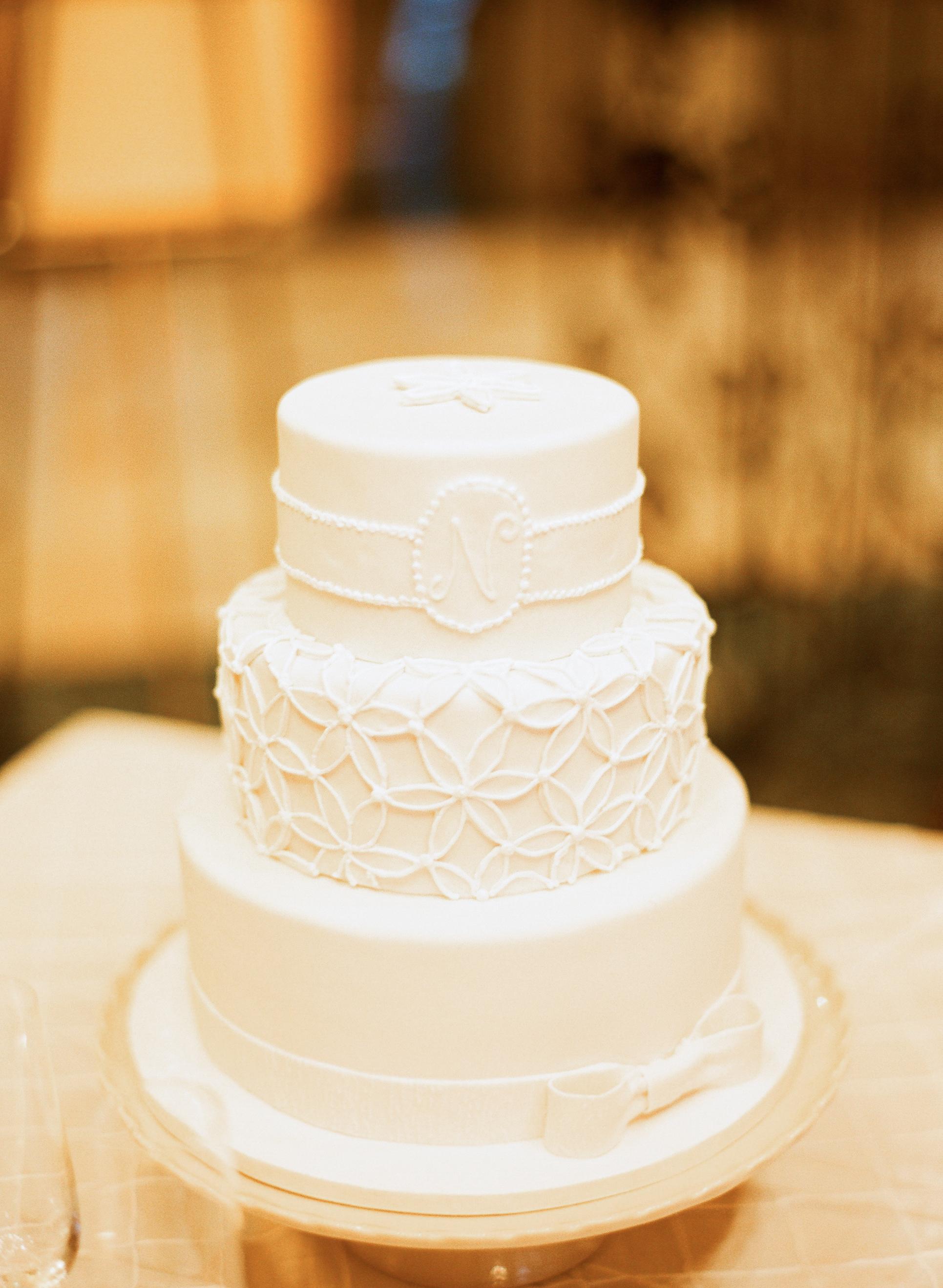 Three Tier Monogrammed White Wedding Cake