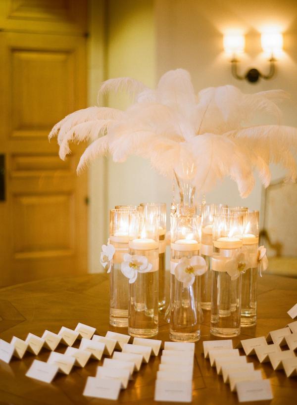Feather Arrangement In Glass Vase Elizabeth Anne Designs