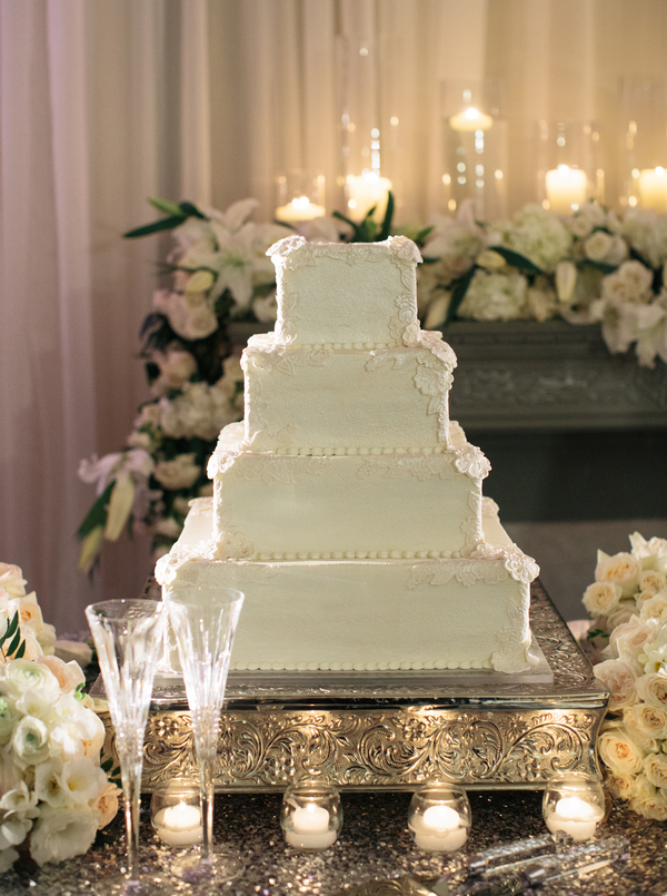 Square Tiered Wedding Cake on Silver Stand   Elizabeth Anne Designs     Square Tiered Wedding Cake on Silver Stand