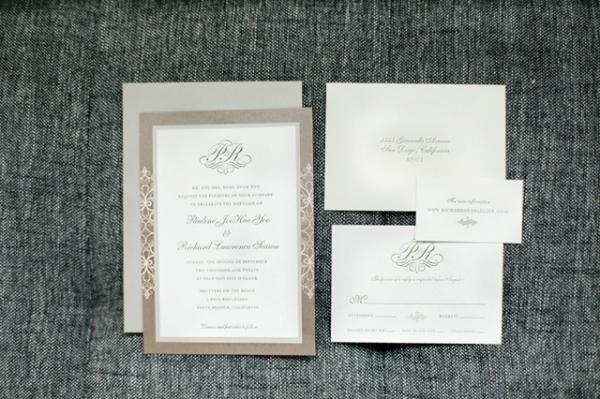 Letterpress Patterned Wedding Invitation Sample In Taupe