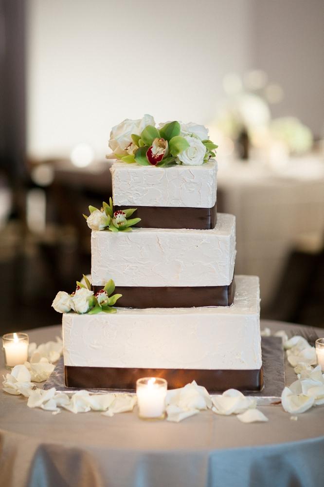 Square Wedding Cake With Brown Satin Ribbon Elizabeth