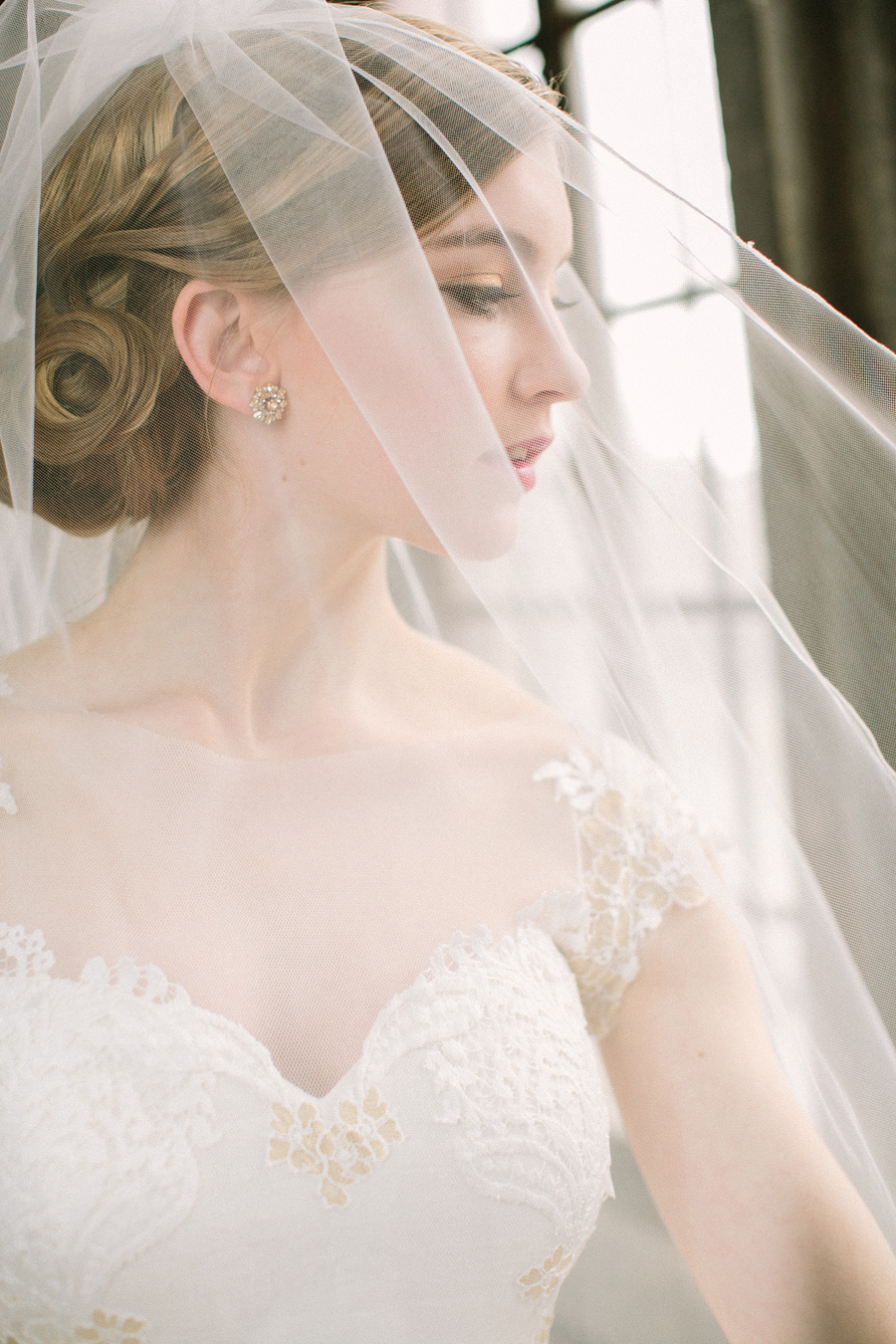 Sheer Cathedral Length Veil Elizabeth Anne Designs The