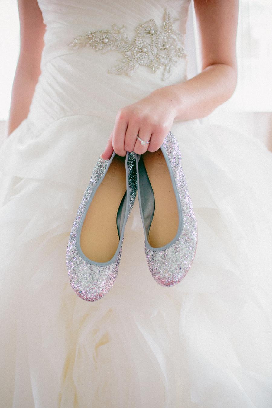 Glitter Ballet Flats Bridal Shoes Elizabeth Anne Designs
