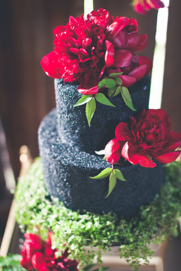 Dark Red Flowers On Black Wedding Cake Elizabeth Anne